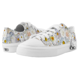 White Flowers Bouquet Floral Wedding Bridal Spring Low-Top Sneakers