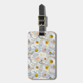 White Flowers Bouquet Floral Wedding Bridal Spring Luggage Tag