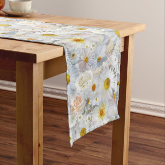 White Flowers Bouquet Floral Wedding Bridal Spring Medium Table Runner