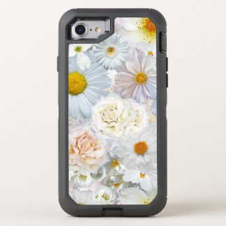 White Flowers Bouquet Floral Wedding Bridal Spring OtterBox Defender iPhone 8/7 Case