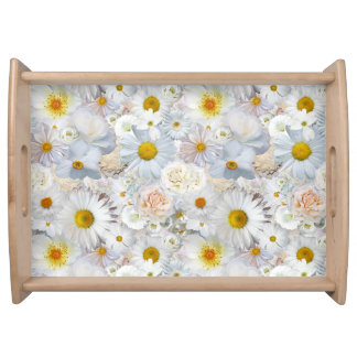 White Flowers Bouquet Floral Wedding Bridal Spring Serving Tray
