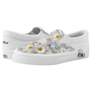 White Flowers Bouquet Floral Wedding Bridal Spring Slip-On Sneakers