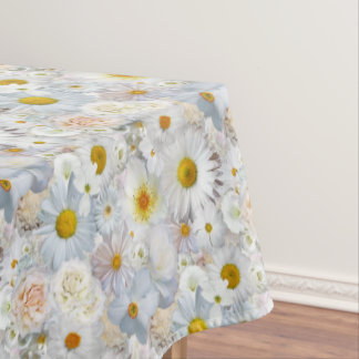 White Flowers Bouquet Floral Wedding Bridal Spring Tablecloth