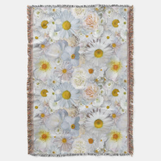White Flowers Bouquet Floral Wedding Bridal Spring Throw Blanket