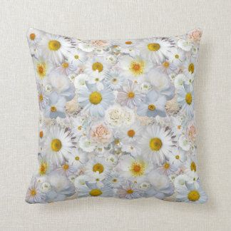 White Flowers Bouquet Floral Wedding Bridal Spring Throw Pillow