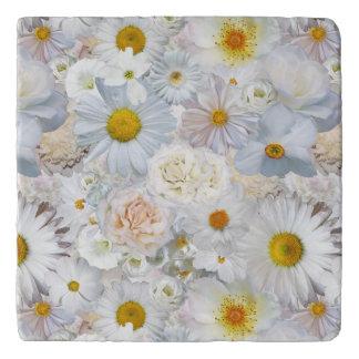 White Flowers Bouquet Floral Wedding Bridal Spring Trivet