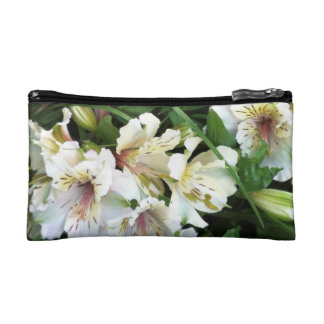 White flowers cosmetic bag