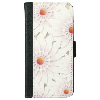 White flowers design iPhone 6 wallet case