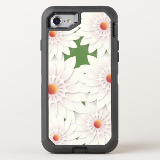 White flowers design OtterBox defender iPhone 8/7 case