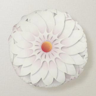 White flowers design round pillow