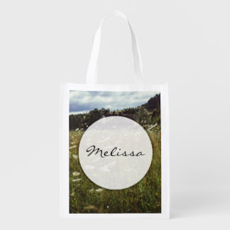 White Flowers Field Summer Evening Photo Market Totes
