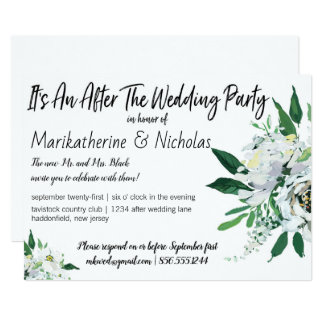 White Flowers For All Seasons After Wedding Party Card