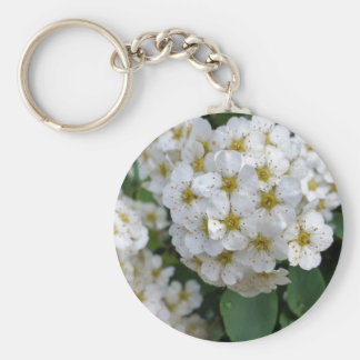 White flowers glowing basic round button keychain