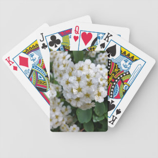 White flowers glowing bicycle playing cards