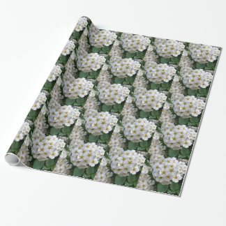 White flowers glowing wrapping paper