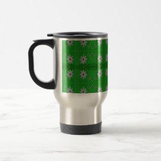 white flowers green background travel mug