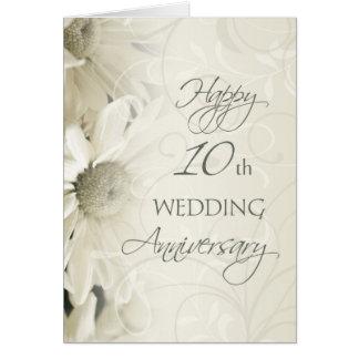 White Flowers Happy 10th Wedding  Anniversary Card