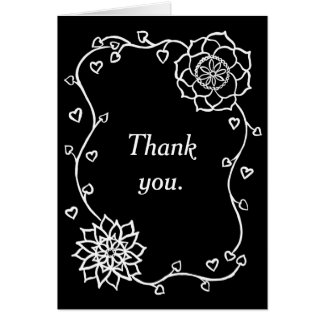 White Flowers Hearts Black Thank you Cards