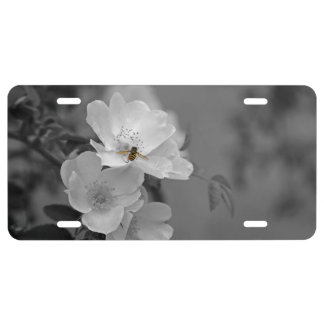 White flowers license plate