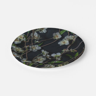 White Flowers on a black background Paper Plate