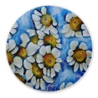 White Flowers on a Blue background Ceramic Knob