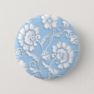 White Flowers On Baby Blue 2 Inch Round Button