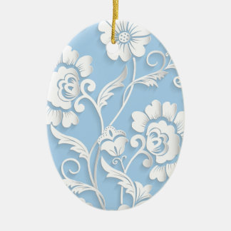 White Flowers On Baby Blue Ceramic Oval Ornament