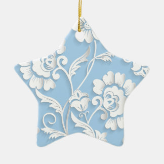 White Flowers On Baby Blue Ceramic Star Ornament