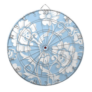 White Flowers On Baby Blue Dartboard
