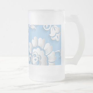 White Flowers On Baby Blue Frosted Glass Beer Mug
