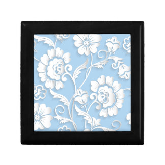 White Flowers On Baby Blue Gift Box