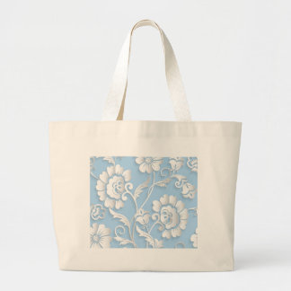 White Flowers On Baby Blue Large Tote Bag