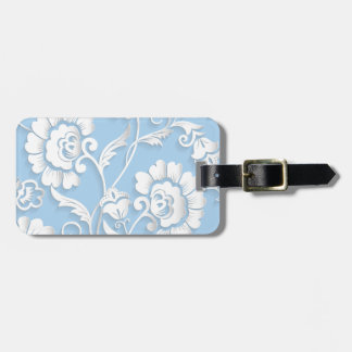 White Flowers On Baby Blue Luggage Tag