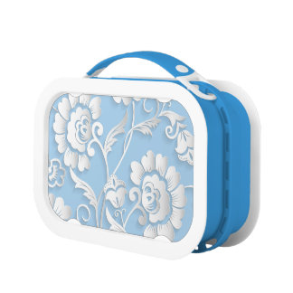 White Flowers On Baby Blue Lunch Box