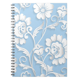 White Flowers On Baby Blue Notebook