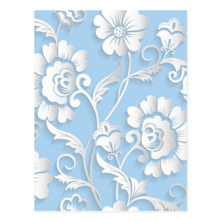 White Flowers On Baby Blue Postcard
