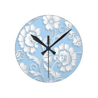 White Flowers On Baby Blue Round Clock