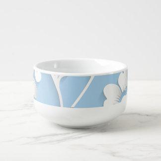 White Flowers On Baby Blue Soup Mug