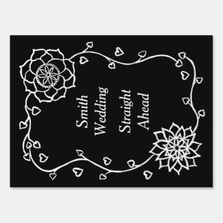 White Flowers on Black Directions Yard Sign