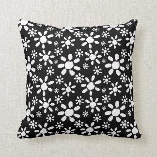 White Flowers on Black Throw Pillow