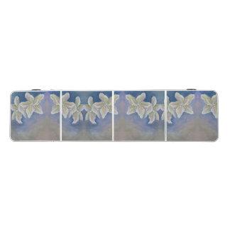 white flowers on blue folding table