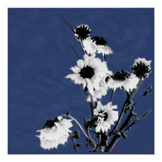 white flowers on blue poster