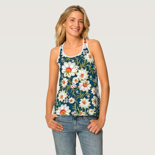 White Flowers On Blue Tank Top