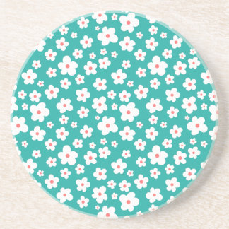 White flowers on custom color drink coasters