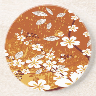 White Flowers on Orange Grunge Coaster