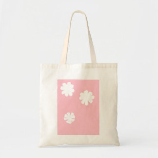 White Flowers On Pink Background Tote Bag