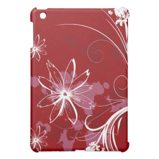 White Flowers on Red iPad Mini Case