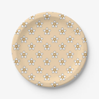 """white flowers on yellow field 9"""" paper plate"""
