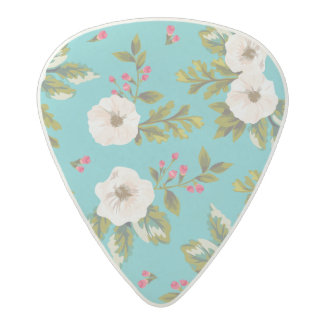 White flowers painting on turquoise background acetal guitar pick