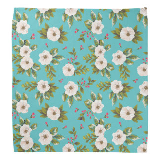 White flowers painting on turquoise background bandana